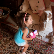 Child dancing with rabbit MP3 Player